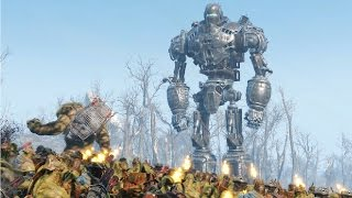 getlinkyoutube.com-Liberty Prime & BoS Army VS Behemoths & Super Mutants - Fallout 4 NPC War