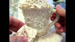 getlinkyoutube.com-Altered Teapot ,teacup and muslin rose tutorial