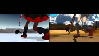 "getlinkyoutube.com-Comparison: RWBY ""Red"" Trailer / 【第11回MMD杯本選】MMD  Red Trailer"