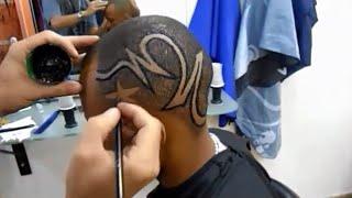 getlinkyoutube.com-corte de cabelo masculino - com desenho tribal - jaé arte black