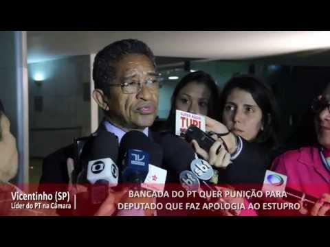 Bancada do PT quer punição para deputado que faz apologia ao estupro