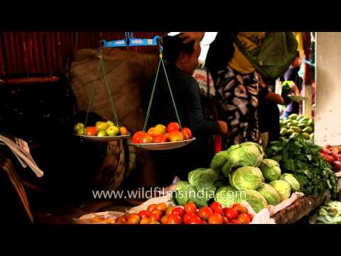 Local food market in Aizawl, Mizoram.