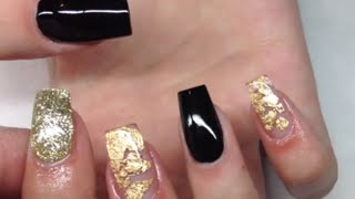 getlinkyoutube.com-How To Apply Acrylic Nails The Right Way | Black And Gold