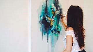 getlinkyoutube.com-Abstract Birds Oil Painting - Time-Lapse - Speed Painting