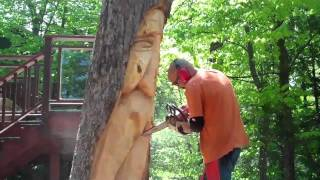 getlinkyoutube.com-Oak Stump Chainsaw Carving by John Melo Mirror Lake,May 2011