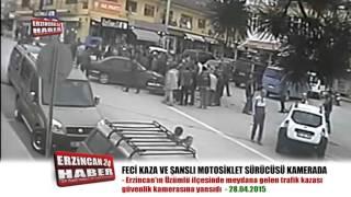 Erzincan'da Filim Sahnelerini Aratmayan Motosiklet Kazası