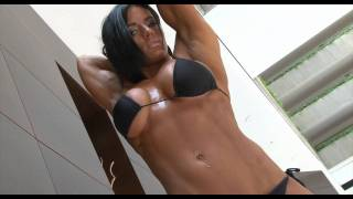 getlinkyoutube.com-Beautiful Fitness cute girl with huge boobs flexing her muscles