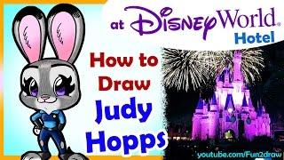 getlinkyoutube.com-How to Draw a Judy Hopps Zootopia from my Disney World Hotel - Fun2draw