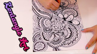 getlinkyoutube.com-¿que es Zentangle Art y como se hace? Speed drawing doodle art | Isa ❤️