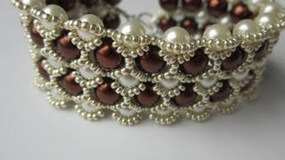 getlinkyoutube.com-Beaded Bracelet with 8mm and 6mm Glass Pearl  . Бисерный Браслет из 8мм и 6мм жемчуга
