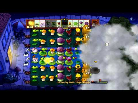Plants Vs Zombies - Xbox 360 - Survival Fog Hard Part 2