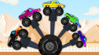 getlinkyoutube.com-Monster Truck | Finger Family | Vehicle for Kids