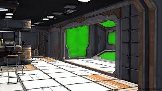 getlinkyoutube.com-Sci-Fi Spaceship Room with Green Screen - Video Background