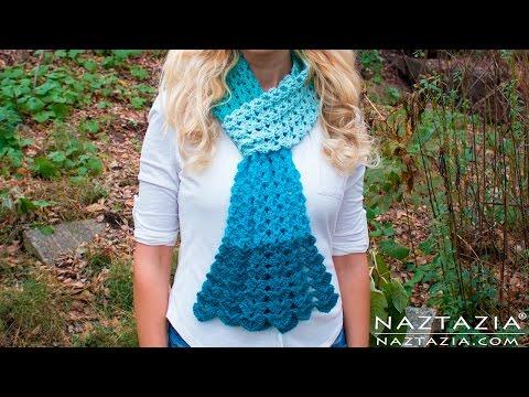 DIY Tutorial - Crochet Mermaid Tail Scarf - Lace Shell Stitch Lacy Scarf Bufanda