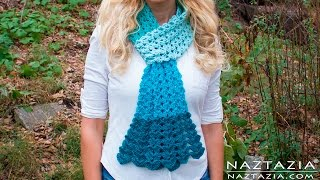 getlinkyoutube.com-DIY Tutorial - Crochet Mermaid Tail Scarf - Lace Shell Stitch Lacy Scarf Bufanda