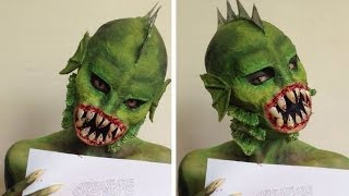 getlinkyoutube.com-Creature Double Feature PinkStylist Contest ♡ Reptile Halloween Tutorial