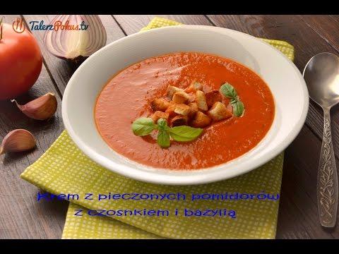 Krem z pieczonych pomidorów z czosnkiem i bazylią