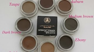 getlinkyoutube.com-Anastasia Dipbrow  8 colours +Swatches,  Dipbrow pomade ABH