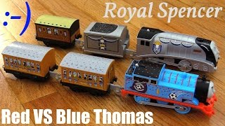 getlinkyoutube.com-Toy Trains for Kids: New Trackmaster Royal Spencer and Red VS Blue Thomas Unboxing & Playtime