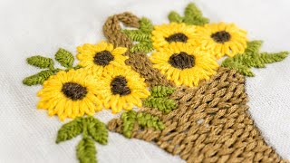 getlinkyoutube.com-Hand Embroidery | Designs for Baby Clothes | Flower Basket | HandiWorks #47
