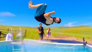 getlinkyoutube.com-TRAMPOLINE POOL PARTY!