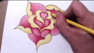 getlinkyoutube.com-How To Draw a Simple Rose Design With a Heart