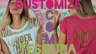 getlinkyoutube.com-DIY: 4 maneiras de customizar sua camiseta com tesoura