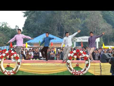 Mizo youth performing a choreography dance at Thalfavang Kut