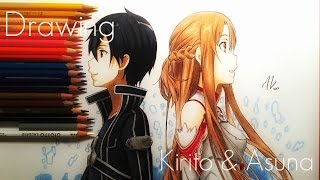 getlinkyoutube.com-Speed Drawing Kirito & Asuna - Sword Art Online