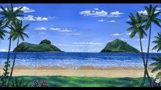 getlinkyoutube.com-Como pintar uma praia tropical usando o acrílico sobre tela