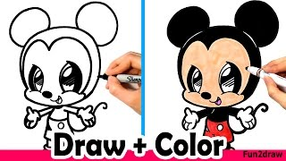 How to Draw Mickey Mouse Cute + Easy and Color with Crayola Markers
