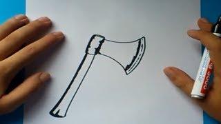 getlinkyoutube.com-Como dibujar un hacha paso a paso | How to draw an ax