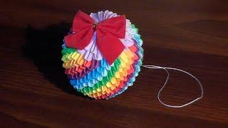 getlinkyoutube.com-Модульное оригами Елочная игрушка радужный шар (мастер класс)