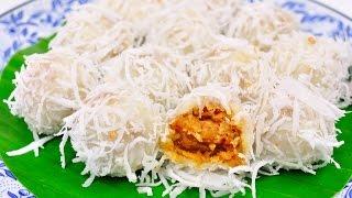 getlinkyoutube.com-Coconut Ball (Thai Traditional Dessert) - Ka Nom Tom (ขนมต้ม)