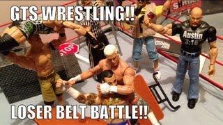 getlinkyoutube.com-GTS WRESTLING: Loser Belt Battle!! figure matches WWE Parody Mattel elite figure animation