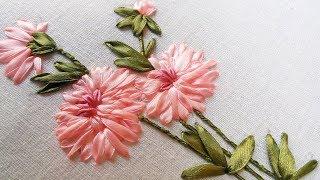 getlinkyoutube.com-Hand Stitch and Flower | Beautiful Ribbon Design |  HandiWorks #49