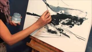 getlinkyoutube.com-Landschaft malen mit LUKAS Acryl Farben und Strukturpasten (Teil 1)