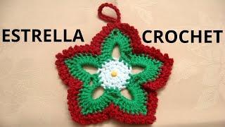 getlinkyoutube.com-Como tejer estrellas de navidad en tejido crochet tutorial paso a paso.