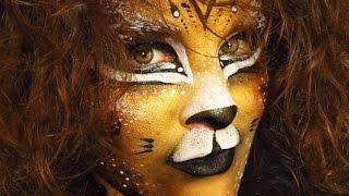 getlinkyoutube.com-Lion Leopard Tiger Facepaint Makeup Tutorial. NK