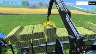getlinkyoutube.com-FS 15 Collect and Stack Grass Bales with Ponsse Buffalo