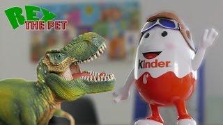 getlinkyoutube.com-T-Rex vs Giant Surprise Egg Robot! Pet dinosaur Rex The Pet fights Giant Surprise Egg.
