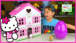 getlinkyoutube.com-Big Purple Egg Surprises Golden Kinder Surprise Egg Toys HELLO KITTY DOLL HOUSE PLAYSET Frozen Anna