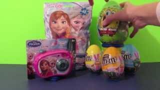 Disney's Frozen Queen Elsa and Princess Anna Puzzle, Camera, Spongebob and M&M eggs