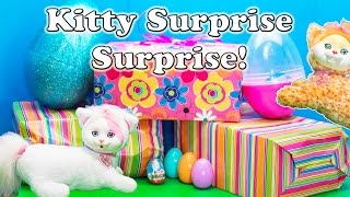 getlinkyoutube.com-KITTY SURPRISE Surprise Eggs Kitty Surprise with Puppy in Pocket and Minnie Figaro Surprise Egg Vide