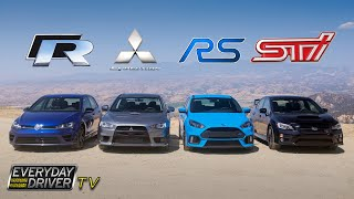 getlinkyoutube.com-Ford Focus RS Showdown - Golf R, STI, Evo X - Everyday Driver