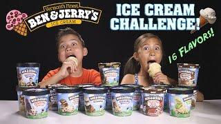getlinkyoutube.com-ICE CREAM CHALLENGE!!! Ben & Jerry's 16 Flavor Taste Test!