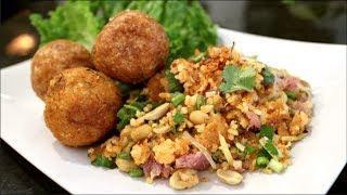 Thai Rice & Sausage Salad Recipe ยำแหนมข้าวทอด - Hot Thai Kitchen