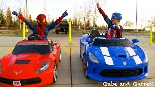 getlinkyoutube.com-Power Wheels Racing - Spiderman vs Captain America Full Race HD!