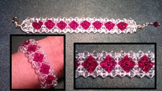 getlinkyoutube.com-Beading4perfectionists : Duo coloured bracelet made with 2 rows beginners beading tutorial