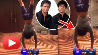 getlinkyoutube.com-Watch : Shah Rukh's Son Aryan Khan Does a Hand Stand Stunt